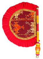 Traditional Hand Fan with Zari & Sequence Work